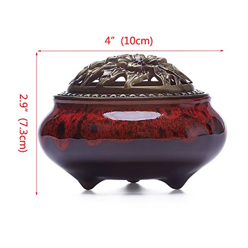 UOON Ceramic Stick Incense Burner and Cone Incense Holder Ash Catcher (Red)