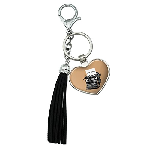 Just Write Antique Typewriter Writer Author Chrome Plated Metal Heart Leather Tassel Keychain by Graphics and More