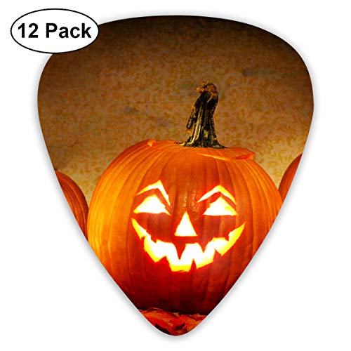 Jack O Lantern Carving Pumpkin Halloween Scary Ghost Small Medium Large 0.46 0.73 0.96mm Mini Flex Assortment Plastic Top Classic Rock Electric Acoustic Guitar Pick Accessories Variety Pack -