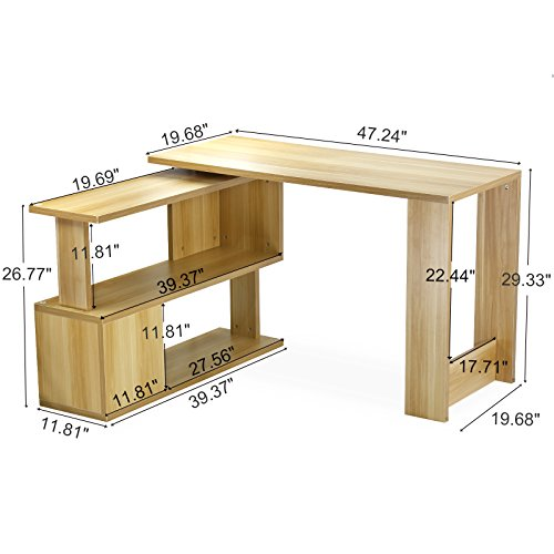 Tribesigns Modern L Shaped Desk Rotating Corner Computer