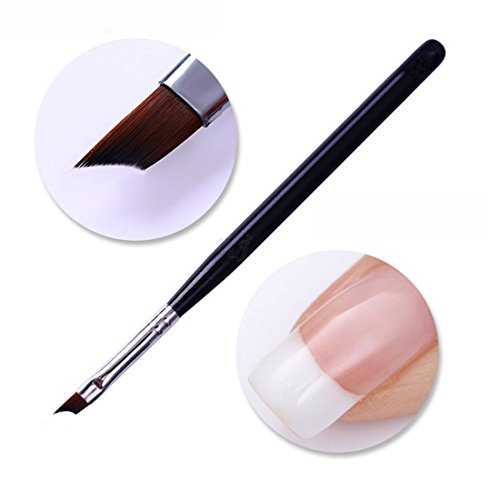 Oblique Head French Tip Nail Brush Black Handle UV Gel Acrylic Painting Drawing Pen Pack of - French Brushes Manicure