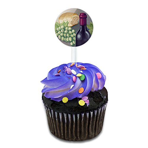 Wine Bottle with Bread and Grapes Cake Cupcake Toppers Picks (Bread Topper)