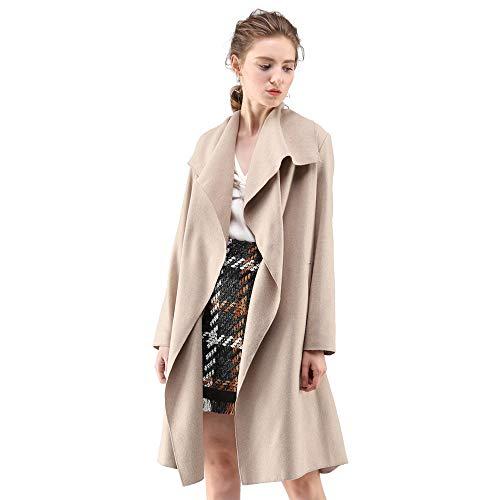 Blend Wool Jacket Ivory (Chicwish Women's Wide Lapel Open Front Long Sleeve Sand Beige Wool Blend Trench Coat)