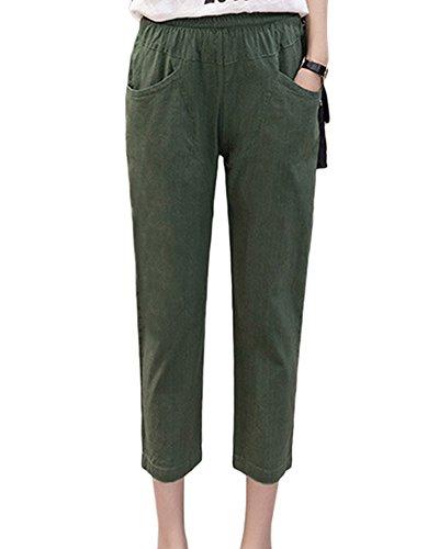 Cintura del Pantalones Pantalones Pantalones Mujer Suaves Bolsillos Con ejército Lino Casuales Guiran Elástica Verde Cómodos 1ZTnOw5U5