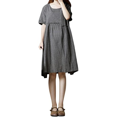Summer Dress for Women Short Sleeve O Neck Plaid Cotton Linen Loose Bohe Casual Dress with Pocket ()