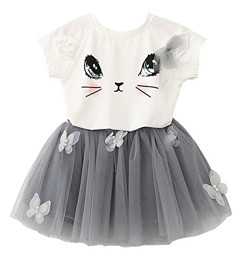 Price comparison product image BomDeals Adorable Cute Toddler Baby Girl Clothing 2pcs Outfits (Age(3T), Cat/White)