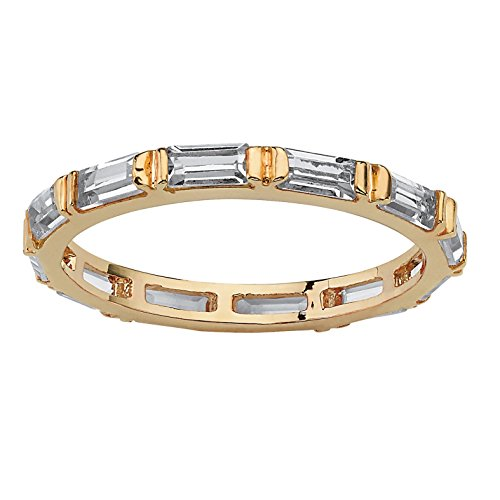 Lux 14K Gold-plated Baguette Cut Simulated Birthstone Eternity Ring - April - Simulated ()