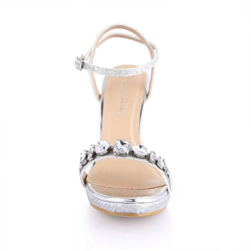 verano Crystal de EU39 punta Tacones Sandalias Flower suela High plata redonda de 12CM de 4U® Zapatos mujer Glitter Metal para Best goma AptqaWnt