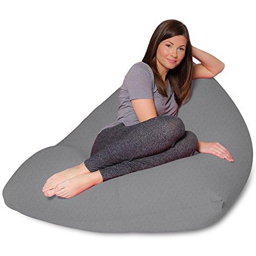 Big Squishy Portable and Stylish Bean Bag Chair, Twist, Gray