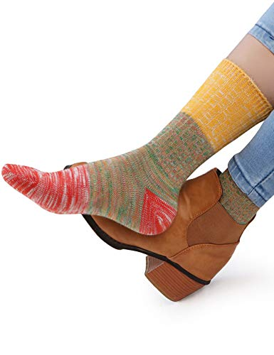 VERO MONTE 4 Pairs Plus Size Socks for Women -Womens Socks Plus Size(10-12) (Funky Socks Women Cotton)