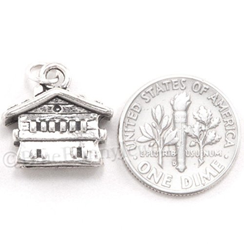 3D CHALET Swiss Alps House Cottage Ski resort Charm Pendant 925 STERLING SILVER Jewelry Making Supply Pendant Bracelet DIY Crafting by Wholesale Charms