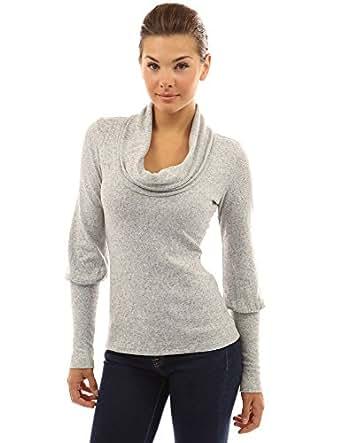 PattyBoutik Women's Cowl Neck Long Princess Sleeve Knit Top (Gray S)