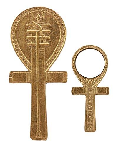 Ankh Egyptian Mirror - Ebros Small Crux Ansata Egyptian Golden Ankh Djed Hand Mirror Figurine 8.25