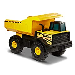 The Tonka classic steel mighty dump truck is built for hauling! This sturdy, steel construction vehicle is ready for the toughest loading jobs. Move the bed up and down to trigger its unloading action! Constructed with steel and guaranteed fo...