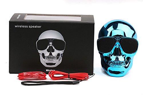 ArMordy(TM) Plastic Metallic Skull Shape Wireless Bluetooth Speaker Sunglass NFC Skull Speaker Mobile Subwoofer Multipurpose Speaker Cool[ Blue ]