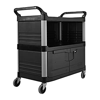 Rubbermaid Commercial FG409500BLA XTRA Equipment Cart, 3-Shelf with Locking Doors, Sliding Drawer, End Panels, and 1 Side Panel, Black