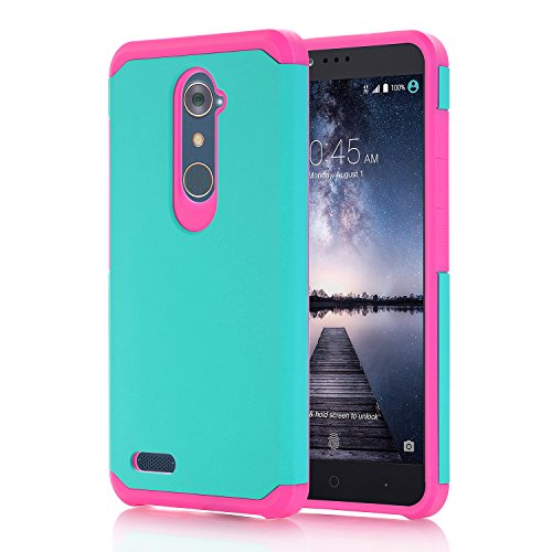 Price comparison product image ZTE ZMax Pro Case, ZTE Grand X Max 2 Case, ZTE Imperial Max Case, Asstar Ultra Slim Fit Hybrid Defender Protective Shock Absorption Impact Resist Armor Shell For ZTE Kirk Z981 Z988 Z963U (pink green)