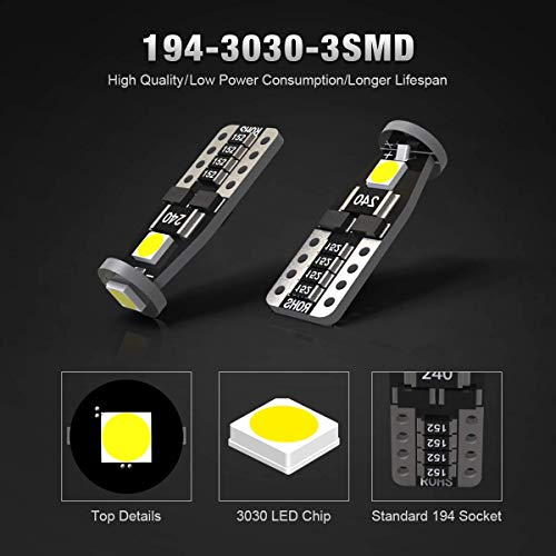 KAFEEK 20x T10 Wedge 194 168 2825 W5W LED Bulbs, Super Bright 3-3030  Chipset, CAN-Bus Error Free, Interior Lights, License Plate Dome Map Door