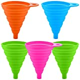 Collapsible Silicone Funnel, SENHAI 5 Pack Folding Funnel for Transmission Fluid Transferring Spices, Kitchen Accessories Gadget