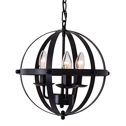 LuFun Orb Chandeliers,Industrial Vintage Pendant Lighting, Rustic Metal Ceiling Hanging Light Fixture for Indoor Kitchen Island Dining Living Room Farmhouse,3-Lights,Dia 13.7inch (Pendant Chandelier Orb)