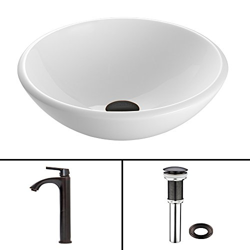 free shipping VIGO White Phoenix Stone Vessel Sink and Linus Vessel Faucet with Pop Up, Antique Rubbed Bronze