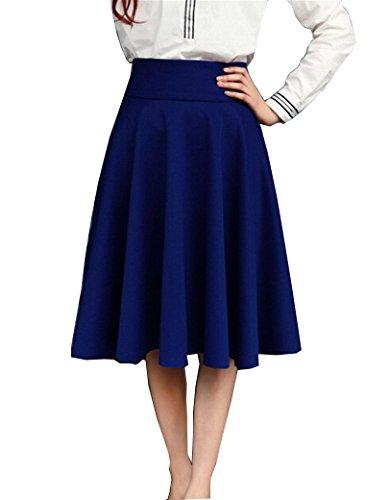 BiilyLi Donna alta vita gonna plissettata Midi Maxi Gonne lunghe moda colore solido gonna partito gonne (Blu scuro, XL)
