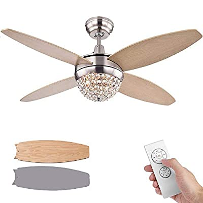 SenHome 52 inch Ceiling Fan with Light LED and Remote Control, Double-Sided Color Wooden Blades Flush Mount Fan Chandelier For Living room/Restaurant/Hall