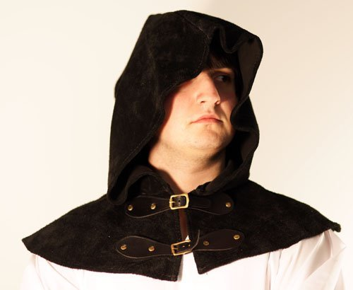[Steampunk-Cosplay-Gothic-LARP-SCA-BLACK LEATHER TWO BUCKLE ARCHERS/PEASENT HOOD] (Mad Inventor Costume)