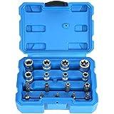 "External Torx Socket Set and Torx Star Bits,Tamper Proof,3/8"" 1/4"" Drive,T10 - T55 E6 - E16,Cr-V Steel,17 Pieces"