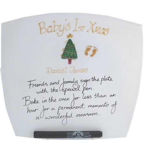 Personalized Babys First Xmas Gift Signature Plate Square MAXIMUM 25 CHARACTERS