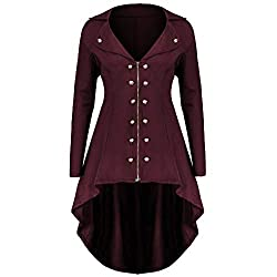 Jofow Jacket Coat Womens Solid Lapel Double Breasted Irregular Asymmetric Hem Long Swallowtail Tunic Slim Cardigan Autumn Xl Red