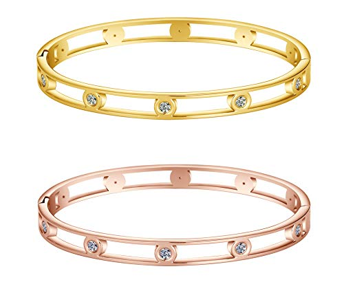 Allen&Danmi AD Jewelry Rose Gold/Gold/White Gold Bangle Bracelet Elegant CZ Stone Stanless Steel Hollow Out for Women Mother's Day (2 Bangles (Rose Gold/Gold), Gold-Plated-Stainless-Steel)