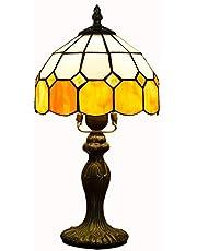 HDMIXC Victorian Tiffany lampa biurkowa w stylu vintage, do salonu, sypialni, nocne oświetlenie, podstawa cynkowa, 20 cm, ręczna malarstwo na szkle