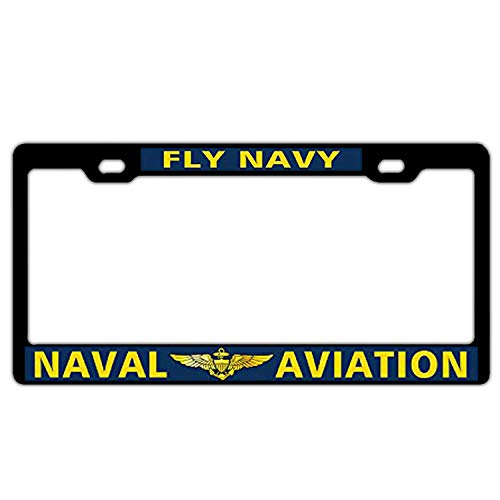 Fly Navy Naval Aviation Aluminum Metal License Plate Frame, Black License Plate Hoder Car Tag Frame for US Vehicles