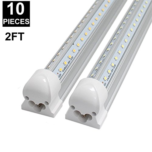 CNSUNWAY 2ft 14-Watt LED Tube Lights, Dual-sided V Shape Integrated, AC85-265V, SMD2835 Clear Cover, Cool White 6000K, LED Cooler Door Lights (10-Pack) by CNSUNWAY LIGHTING