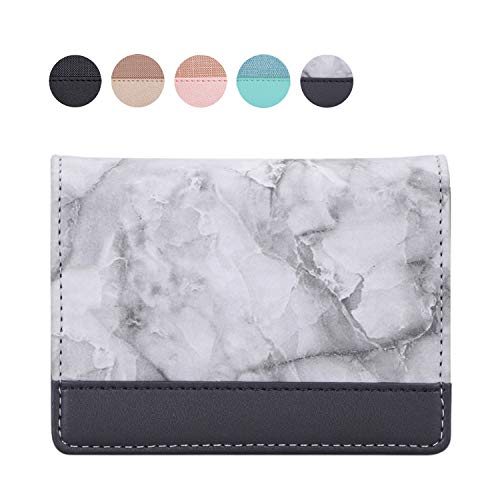 Jasilon Business Card Holder, Business Card Case, Handmade Premium Leather Business Name Card Case Credit Card Holder for Women Men-Marble Black