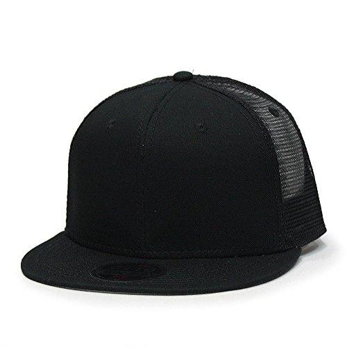 (Vintage Year Plain Cotton Twill Flat Brim Mesh Adjustable Snapback Trucker Baseball Cap (Various Colors) (Black))