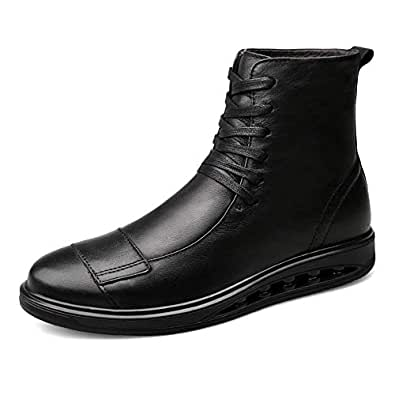 2019 New Arrival Men Boots Mens Military Boot High Top for Men Motorcycle Shoes Lace Up Leather Solid Color Experienced Stitched Warmth High-Traction Grip Personality Matching Black