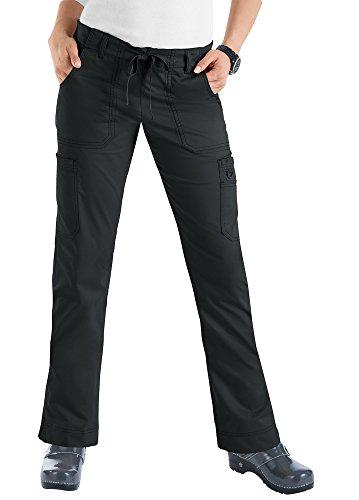 koi-womens-stretch-lindsey-mid-rise-drawstring-waist-cargo-scrub-pants-black-medium