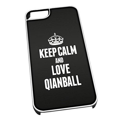 Bianco cover per iPhone 5/5S 1856nero Keep Calm and Love Qianball