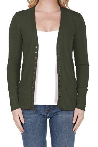 SHOP DORDOR 2039 Women's Button Down Long Sleeve Knit Cardigan Sweater DK Olive 3XL