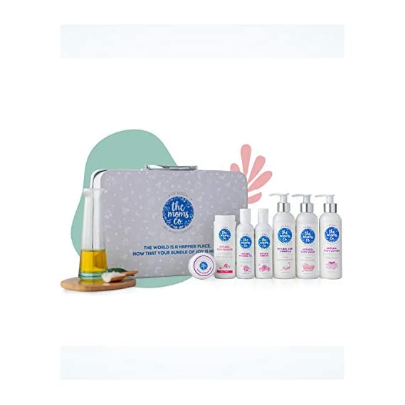 The Moms Co. Baby Suitcase Gift Box with 7 Skin and Hair Care Products (White)