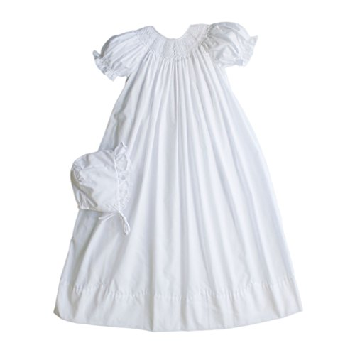 Petit Ami Smocked Christening Gown with Slip and Hat