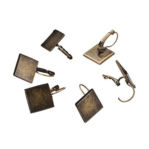 PH PandaHall About 100 Pcs Brass Lever Back Earring Hooks, Flat Square Bezel Tray Blank Cabochon Setting for Earring Finding, Antique Bronze, Tray: 15x15mm