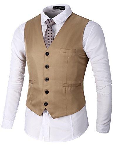AOYOG Men's Business Suit Vests Waistcoat Slim Fit for Suit or Tuxedo, Champagne, (Boys Tuxedo Vest Champagne)