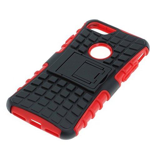 Stoßfestes Case Handy Tasche für Apple iPhone 7 Schutzhülle Handytasche Hülle schwarz-rot mit Ständer