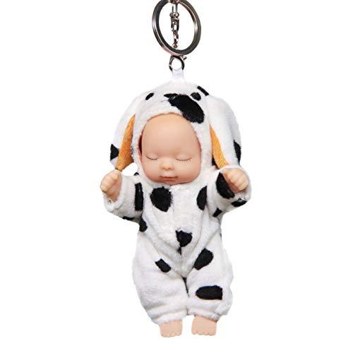 - Prettyard Black White Dot Plush Dog Cute Rotating Baby Doll Toy Keychain Clip Gift - Approx Height: 4.72
