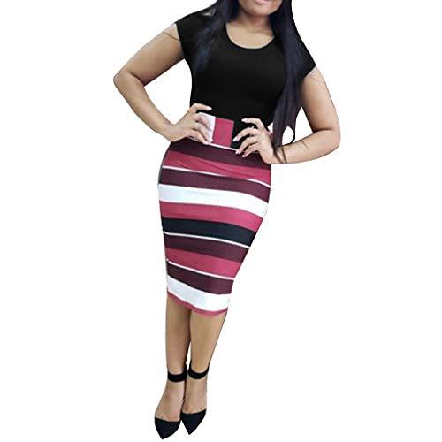 Toponly Womens Midi Dresses Summer Short Sleeve Sheath