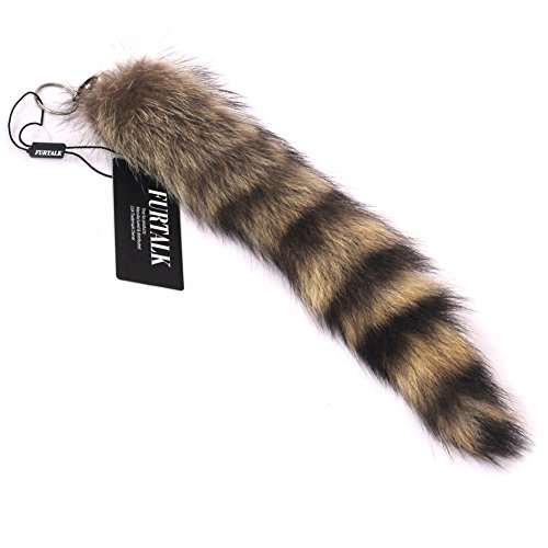 FURTALK Large Real raccoon Tail Keychains Natural Color (Racoon Tail)