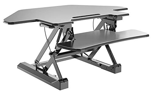 (Feuzy Sit to Stand Tabletop Cubical Riser Corner Pro 40 Height Adjustable with Keyboard Tray Workstation Monitor Laptop Desk (Black))